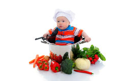Boy with a pan Stock Image