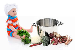 Boy with a pan Stock Photography