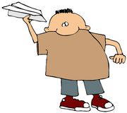 Boy With A Paper Airplane. This illustration depicts a boy throwing a paper airplane Stock Images