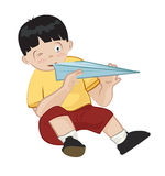 Boy with paper plane. Illustration of a young boy and a paper plane Royalty Free Stock Image