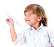 Boy with a paper plane Stock Photos
