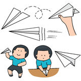 Boy and paper plane. Vector set of boy and paper plane Royalty Free Stock Images
