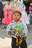 Boy in parade of Bolivian Independence Day parade in Brazil Stock Photos