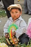 Boy in parade of Bolivian Independence Day parade in Brazil Stock Photo