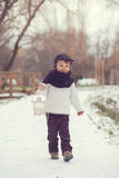 Boy in the park with lantern. In the snow Royalty Free Stock Photos