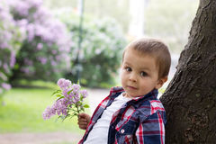 Boy in a park with lilac Royalty Free Stock Images