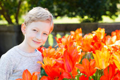 Boy in the park. Portrait of cheerful smiling little boy enjoying warm spring weather in the blooming park Royalty Free Stock Photo