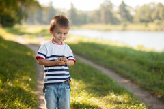 Boy in a park, posing Royalty Free Stock Image