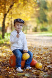 Boy in a park, sitting on a pumpkin, eating chocolate. Lollipop Stock Photography