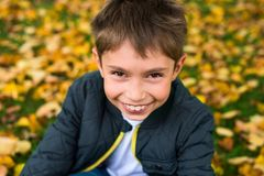 Boy in park smiling looking from bottom to top royalty free stock image