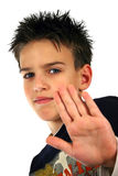 Boy at party. Young boy at party, isolated on white background Royalty Free Stock Images