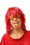 Boy in party costume. With one's tongue hanging out royalty free stock photo