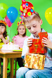 Boy in party hat Stock Photos