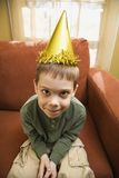 Boy in party hat. Royalty Free Stock Photo