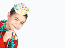 Boy with party hat. Smilling and happy boy with party hat Stock Photos