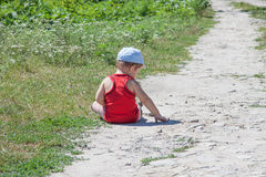Boy on path Royalty Free Stock Photography