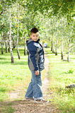 The boy is on path in the park Royalty Free Stock Photo
