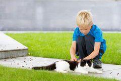 Boy patting a cat outside. Cute blond boy patting a cat outside on a garden patio. Summer or spring. Caring. Child connecting with a pet cat Royalty Free Stock Photography
