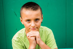 Boy paying attention. Young boy paying close attention Royalty Free Stock Photography