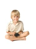Boy with PDA. Little boy playing with PDA, studio shot Stock Image