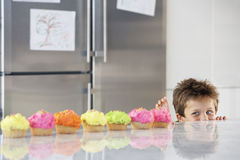 Boy Peaking Over Counter At Row Of Cupcakes Royalty Free Stock Photography