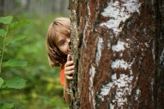 Boy peeking out from behind a tree trunk Stock Photos