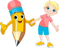 Boy and pencil Stock Image