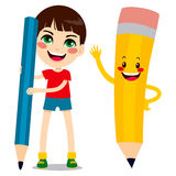 Boy And Pencil Character Royalty Free Stock Photos