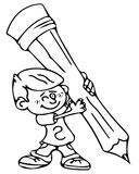 Boy with the pencil coloring pages Stock Images