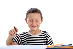 Boy with pencils Royalty Free Stock Photography