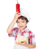 Boy with peppers Stock Images
