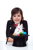 Boy performing easter magic Royalty Free Stock Photo