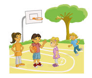 BOY PERSUADING A GIRL TO PLAY BASKETBALL Stock Images