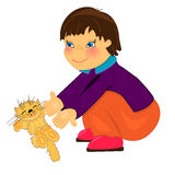 Boy with pet.  isolated illustration Royalty Free Stock Photos