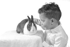 Boy with Pet Rabbit. Black and white image of young boy (three years old) petting a rabbit (breed is Dutch rabbit Royalty Free Stock Image