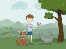 Boy with pets Stock Photo
