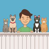 Boy with pets cartoon. Icon vector illustration graphic design royalty free illustration
