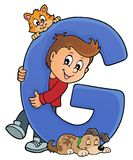 Boy and pets with letter G. Eps10 vector illustration vector illustration