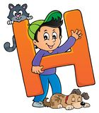 Boy and pets with letter H. Eps10 vector illustration royalty free illustration