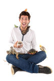 Boy with pets. Boy with several pet animals isolated in white royalty free stock photos