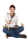 Boy with pets. Boy with several pet animals isolated in white stock image