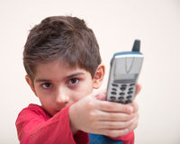 Boy with phone Stock Photography