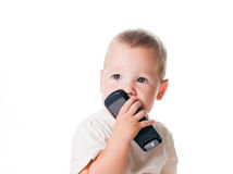 Boy with the phone Stock Image