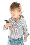 Boy with phone Royalty Free Stock Photos