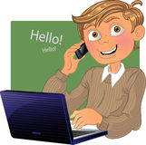 Boy with phone and laptop. Vector Boy with phone and laptop Royalty Free Stock Photography