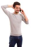 Boy at the phone Royalty Free Stock Image