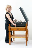 Boy with the phonograph Royalty Free Stock Photography