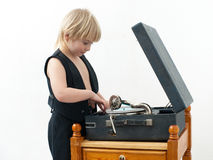 Boy with the phonograph Royalty Free Stock Photos