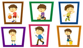 Boy and photo frames Royalty Free Stock Image