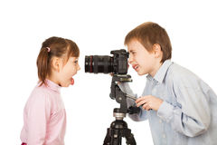Boy photographing girl royalty free stock photography
